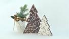 Choinka nie-decoupage - stroik na Boże Narodzenie - wosk bielący i szablony