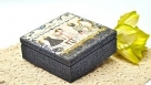 Decoupage krok po kroku -  modowe pudełko z zawijasami strukturalnymi