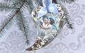 MIX MEDIA - serce z aniołkami - Decoupage + embossing. Boże Narodzenie.