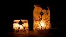 Decoupage - lampion z ptaszkami